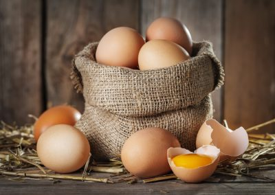 Eggs-in-burlap-basket